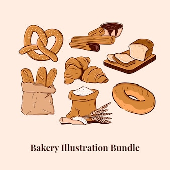 Bakery illustration bundle pretzel churros bread baguette croissant flour bagel
