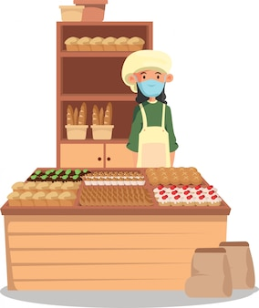 A bakery illustration with the freshly baked breads