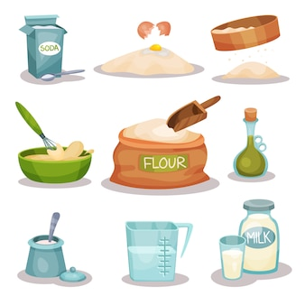 Bakery ingridients set, kitchen utensils and products for baking and cooking
