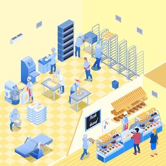 Forno all'interno con personale durante il lavoro e negozio con pasticceria pane e clienti illustrazione isometrica di vettore