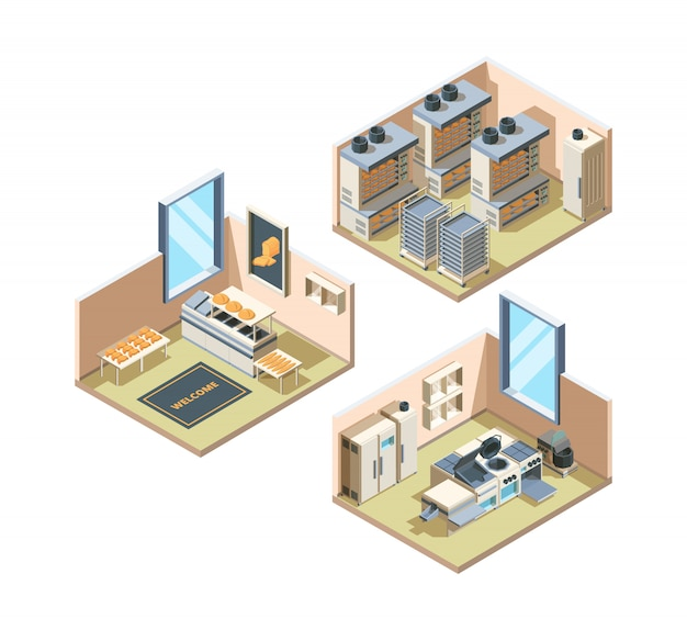 Bakery interior. baking food bread industrial production fresh pastries shelves for food loaf market  isometric interior