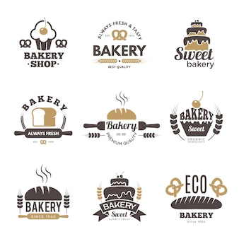 Bakery labels. cooking symbols kitchen illustrations for logo design