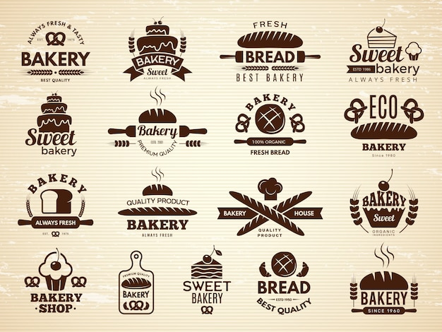 Bakery labels. pastry and cupcakes cafe icons kitchen food bakery products illustrations