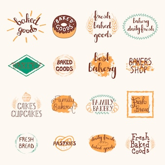 Bakery labels set with logos and emblems in retro style