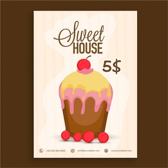 Bakery leaflet with delicious cupcake