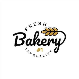 Bakery logo design typography badge vector