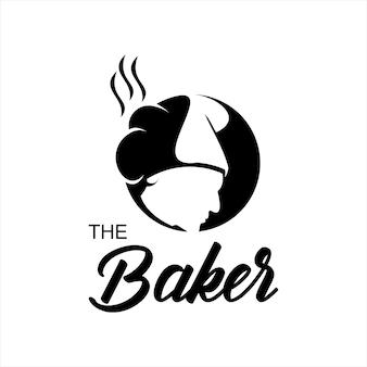 パンの帽子をかぶったパン屋のロゴのアイデアシェフ