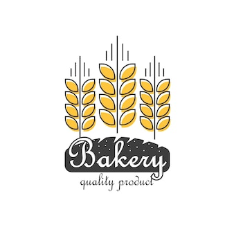 Bakery logo isolated, line outline wheat bread food logotype