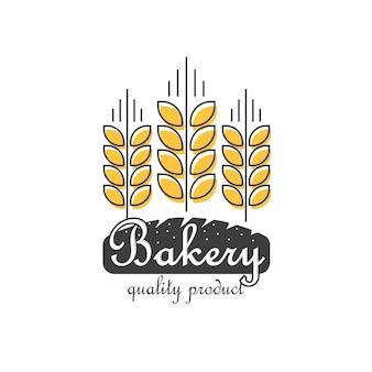 베이커리 로고 절연, 라인 개요 밀 빵 식품 로고