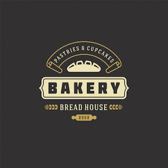 Bakery logo retro Premium Vector