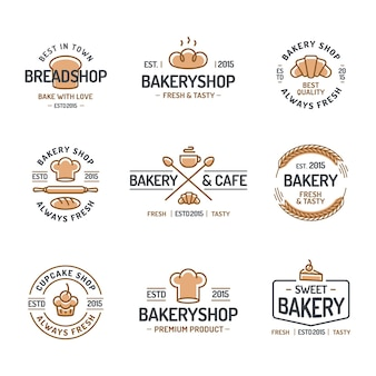 Набор логотипов пекарни.
