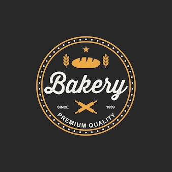Bakery logo template. bakery shop emblem, vintage retro