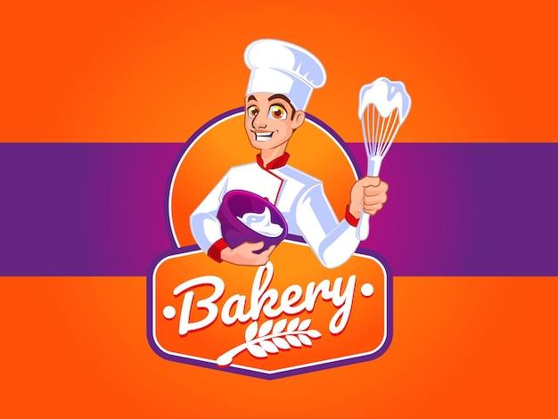 シェフのマスコットとパン屋のロゴ
