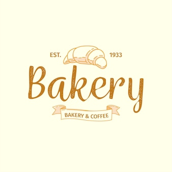 Bakery logo with retro design and croissant