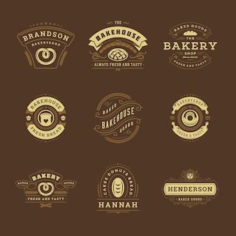 Шаблоны дизайна логотипов и значков пекарни устанавливают иллюстрацию