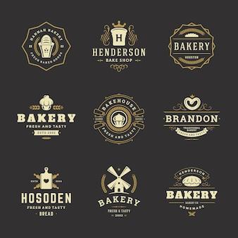 Шаблоны дизайна логотипов и значков пекарни набор векторные иллюстрации