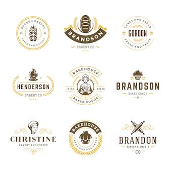 Набор шаблонов логотипов и значков хлебобулочных изделий