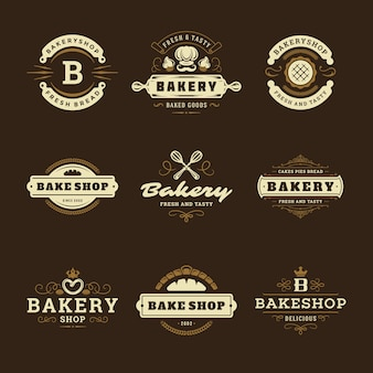 Bakery logos and badges design templates set illustration