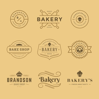 Bakery logos and badges  templates set  illustration. good for bakehouse and cafe emblems.