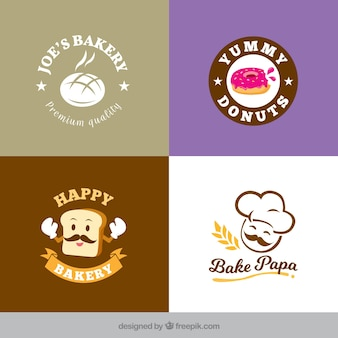 Bakery logos collection in flat style