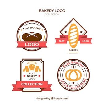 플랫 스타일의 베이커리 로고 컬렉션