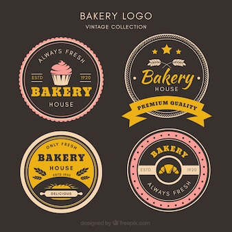 Bakery logos collection in vintage style