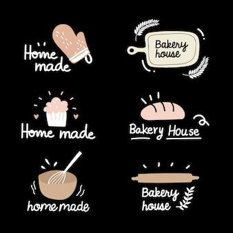 パン屋さんのロゴタイプセット。パン屋さんのビンテージデザイン要素
