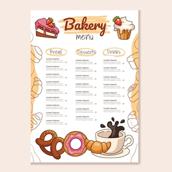 Bakery main menu template mock for cafe and restaurant design for print