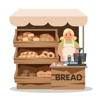 거리에 빵집 시장. 빵을 판매하는 행복 한 여자