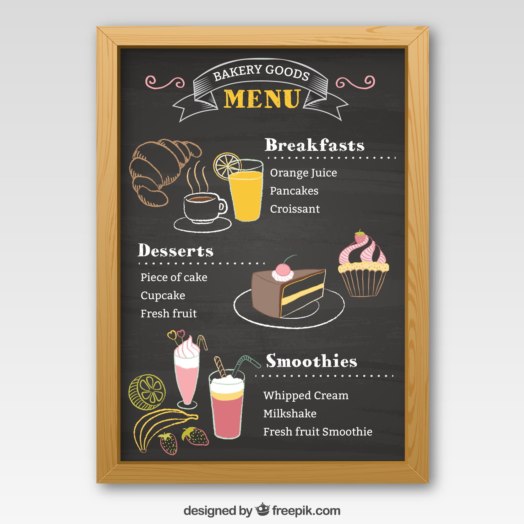 Bakery menu blackboard
