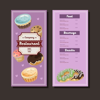 Bakery menu template in hand drawn style