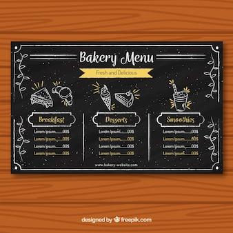 Шаблон меню хлебобулочных изделий в стиле мела