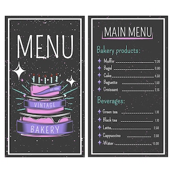 Bakery menu