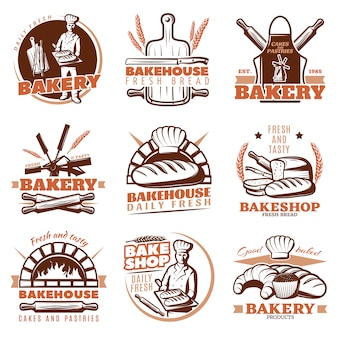 Bakery orange emblems set