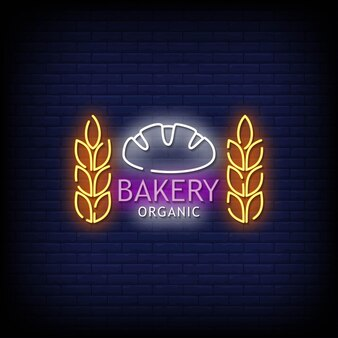 Bakery organic neon signs style text