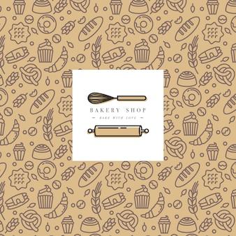 トレンディなスケッチ線形スタイルのベーカリーパッケージデザイン。デザインラベルとロゴで要素を落書きします。