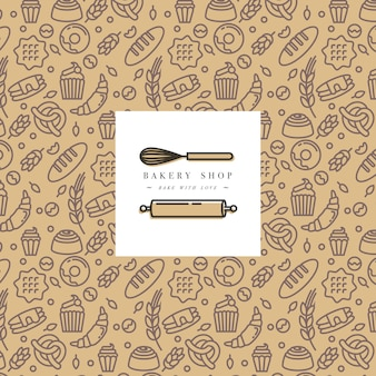 Bakery packaging design in trendy sketch linear style. doodles elements with design label and logo.