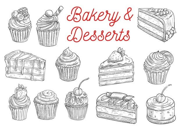 Bakery and pastry desserts sketches of chocolate cake