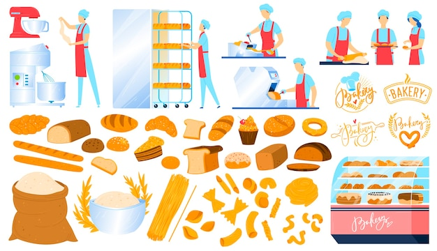 Bakery, pastry equipment, bread food isolated icons set of  illustrations.