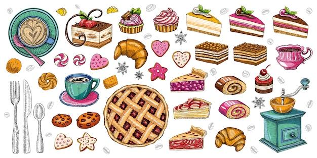 Хлебобулочные кондитерские изделия сладости десерты предметы коллекции магазин кафе плакат ресторан меню еда.