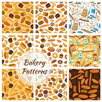 베이커리 패턴. 빵 덩어리, 크루아상, 바게트, 머핀, 롤빵, 프레첼, 베이글 및 베이킹 주방용 칼, 버터, 반죽, 제과점 및 베이커리 숍 디자인 용 밀가루