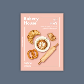 Пекарня плакат шаблон. сбор хлеба и булочек. домашний