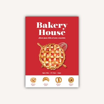 Bakery poster template. bread and bun collection. home made
