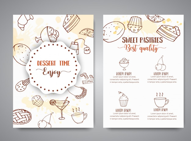 Bakery poster template with pastries.