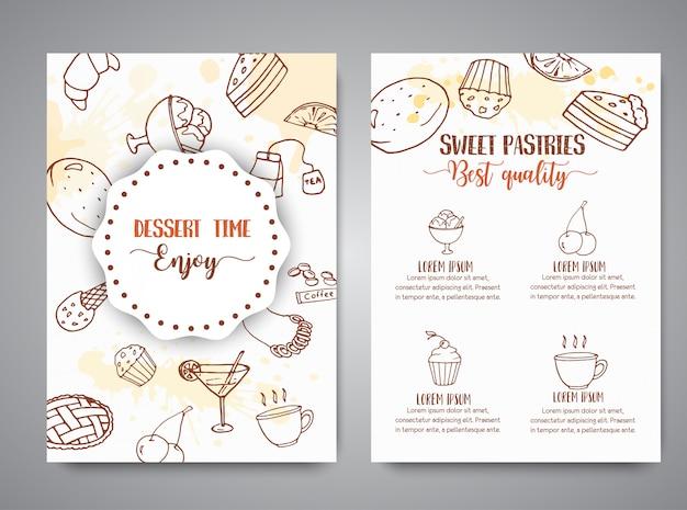 Пекарня плакат шаблон с выпечкой.