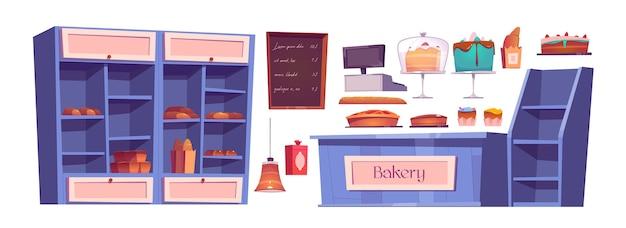 Хлебобулочные изделия и предметы интерьера пекарни, кондитерский цех. деревянные полки с конфетами, пирожными, кексами на подносах и свежим хлебом. меню классной доски, стол кассира, набор иконок мультфильм лампа