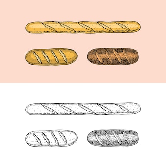 오래된 스케치와 빈티지 스타일로 그린 베이커리 제품 바게트, 빵 파이, 케이크 조각