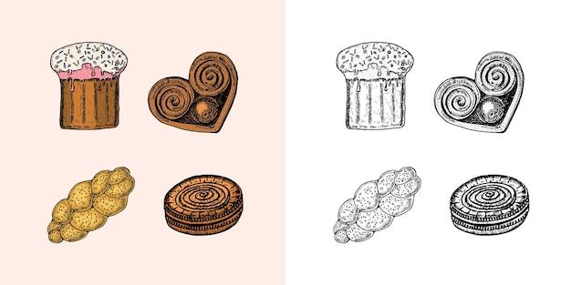 베이커리 제품 바게트와 도넛 케이크와 빵 파이와 케이크는 오래된 스케치에 손으로 새겨져 있습니다.
