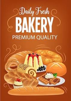 Bakery products  bread, sweet desserts and pastry.