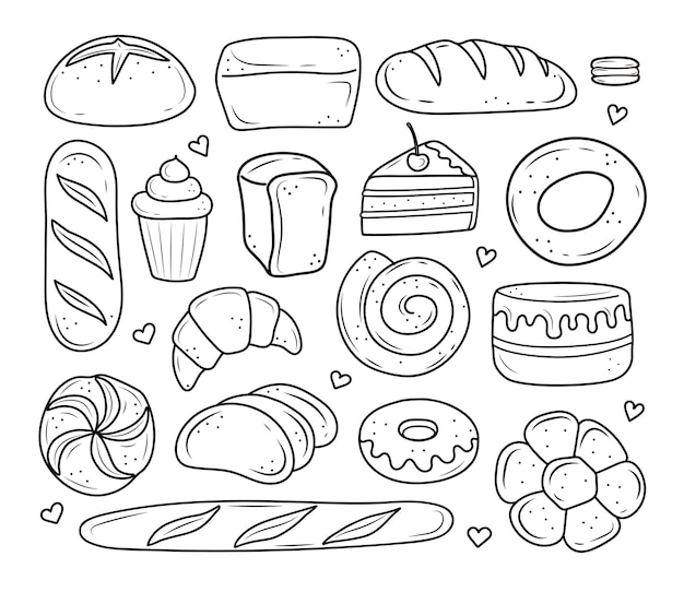 Bakery products drawn in the style of doodle black and white bread cake monchik croissant